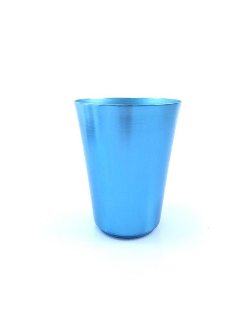 Vaso cónico grande azul aluminio anodizado
