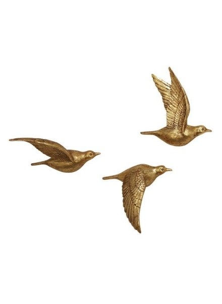 Decoración de pared de pájaros dorados