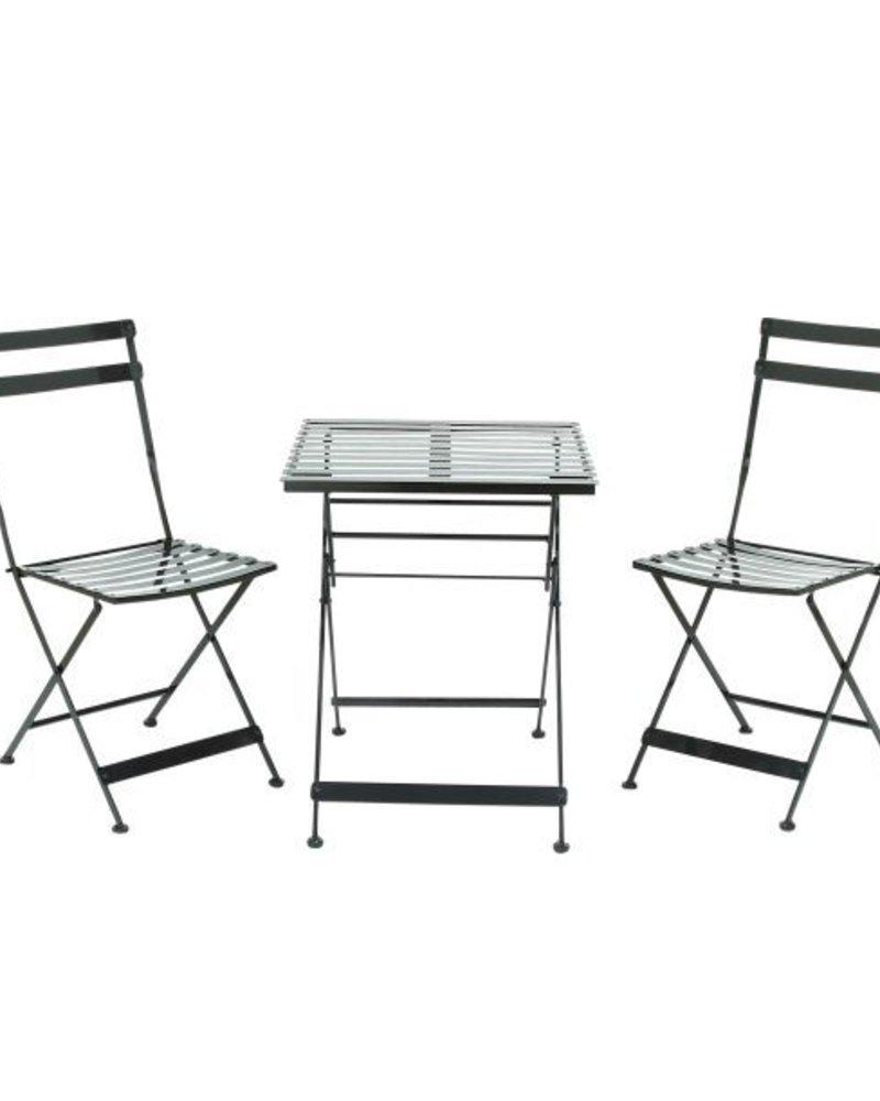 juego de 2 sillas y una mesa negra metalica para exterior