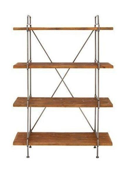 librero con 4 repisas de  madera y estructura metálica color polvora