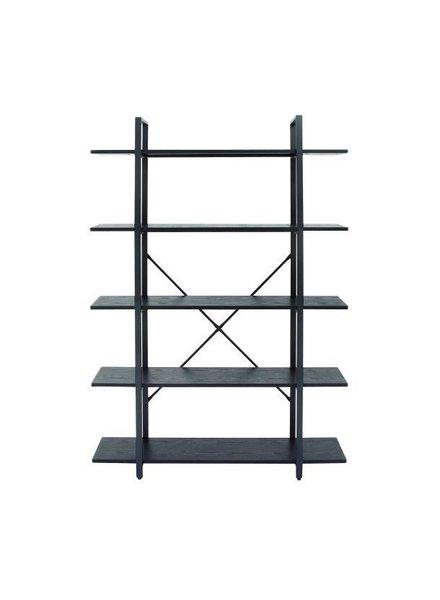librero negro 120 cm de ancho x 178 cm  de alto