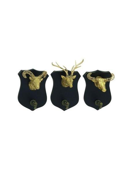 set de 3 perchas cabezas doradas