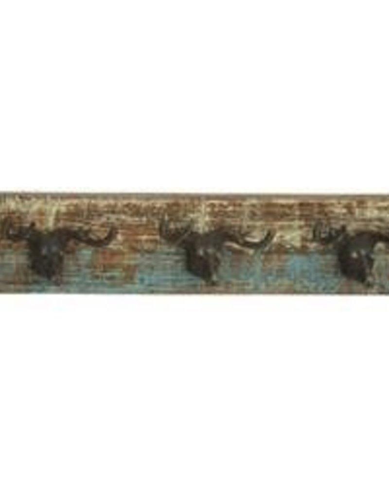 perchas  de pared en forma de venados en base de madera
