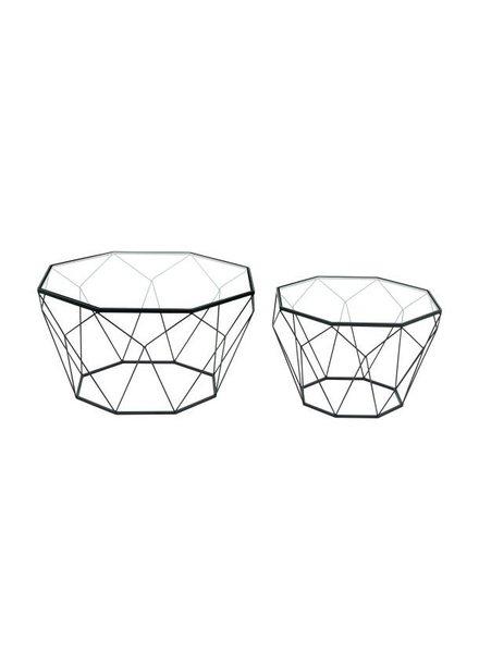 set de 2 mesa de centro geometricas, metal y vidrio