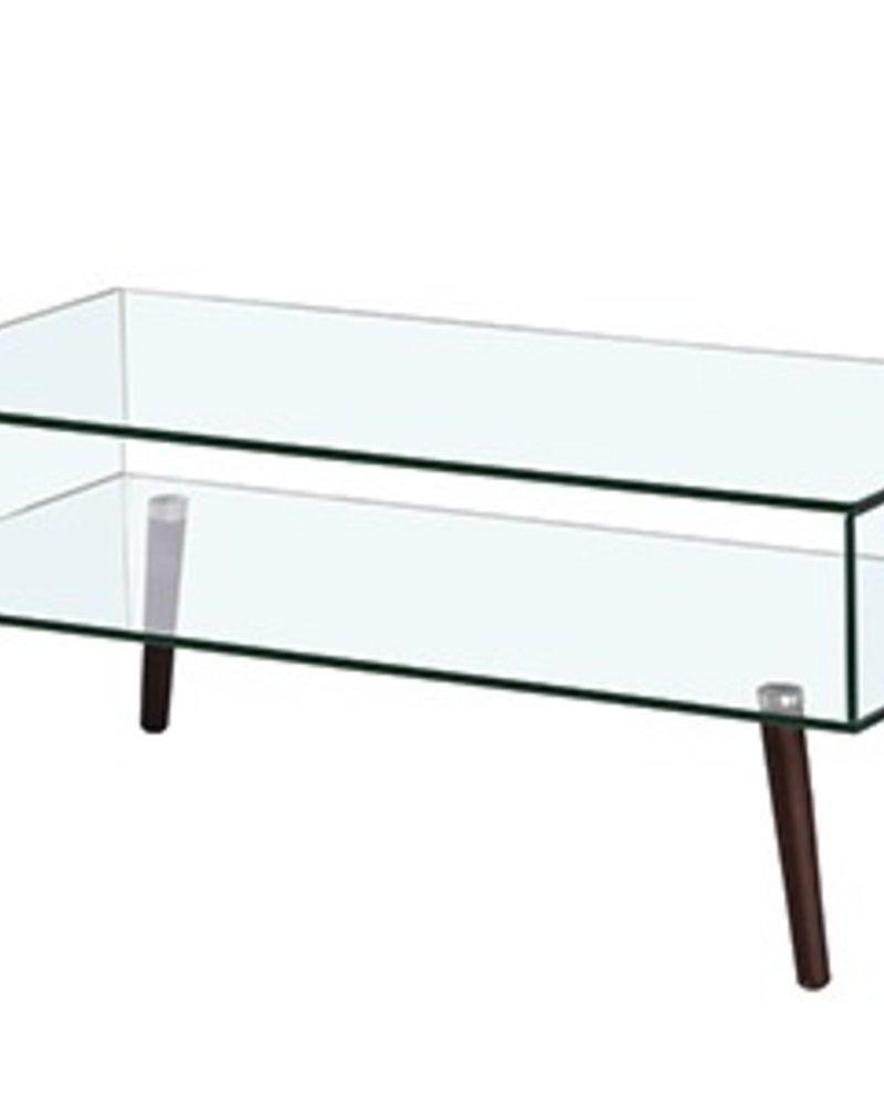mesa de centro rectangulo vidrio y madera