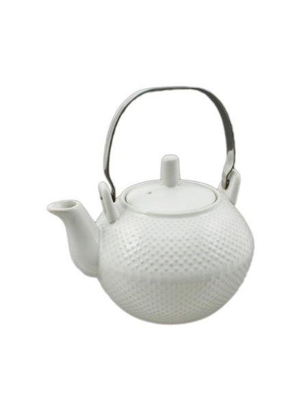 Tetera de ceramica blanca estoperoles