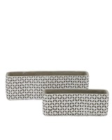 set de 2 macetas primavera de cemento rectangular