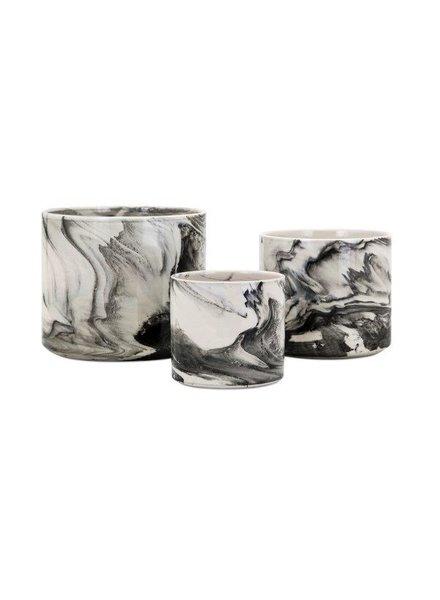 Maceta mediana de ceramica  tipo marmol