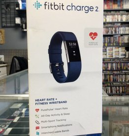Mint in Box - Fitbit Charge 2 Heart Rate Fitness Wristband Stainless Steel & Blue