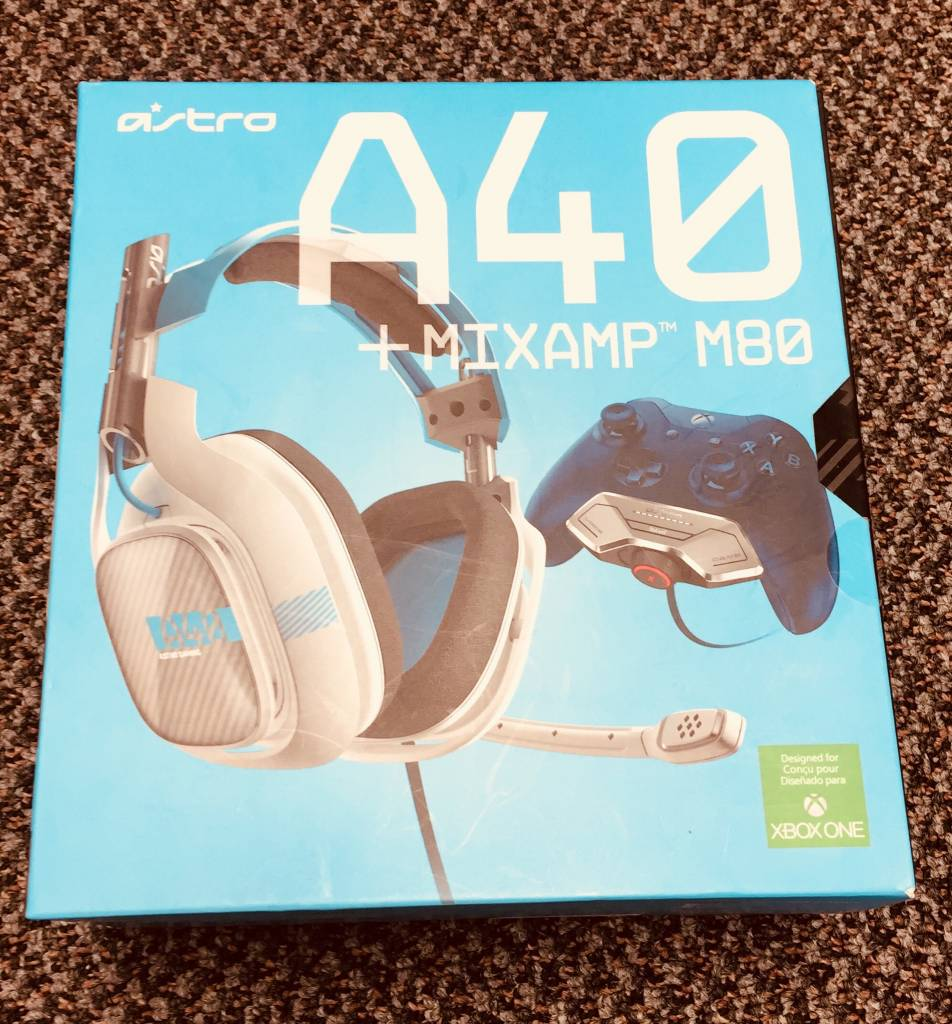 Astro A40 + MixAmp M80 Wired Headset - White / Blue - For Xbox One