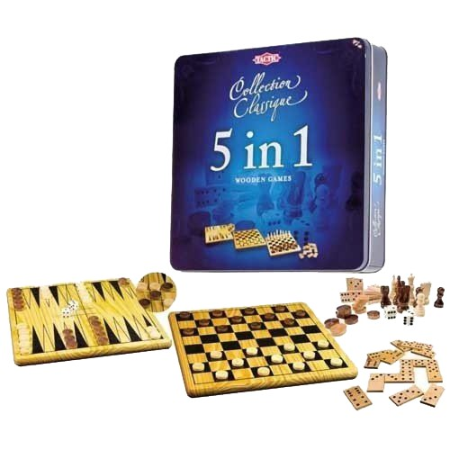 5 IN 1 WOODEN GAMES TIN