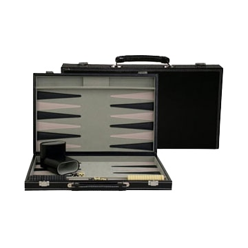 BACKGAMMON GAME BLACK LEATHERETTE
