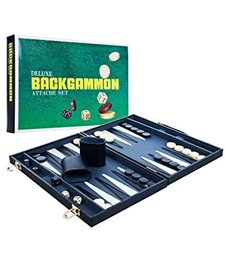 DELUX BACKGAMMON ATTACHE SET