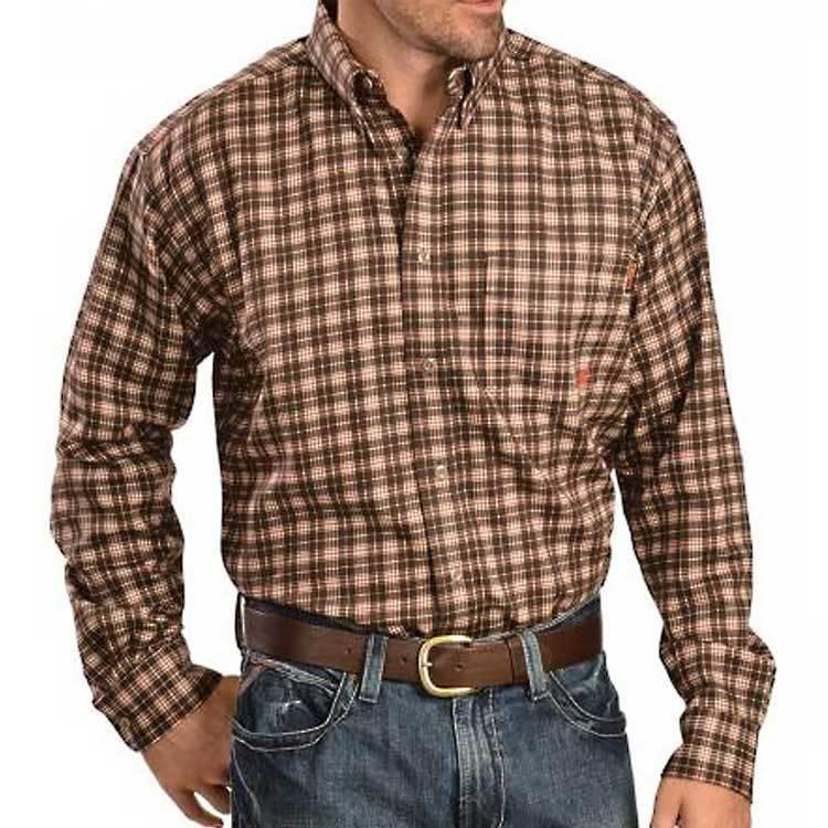 Ariat Ariat FR Plaid Work Shirt (Coffee Bean Multi)