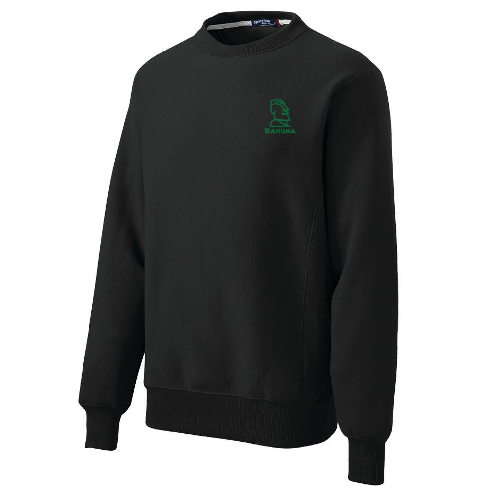 Sport Tek Sport-Tek® Super Heavyweight Crewneck Sweatshirt (Black w/green logo)
