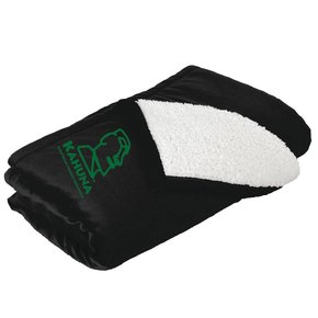 Port Authority® Mountain Lodge Blanket ( Black W/Green logo)