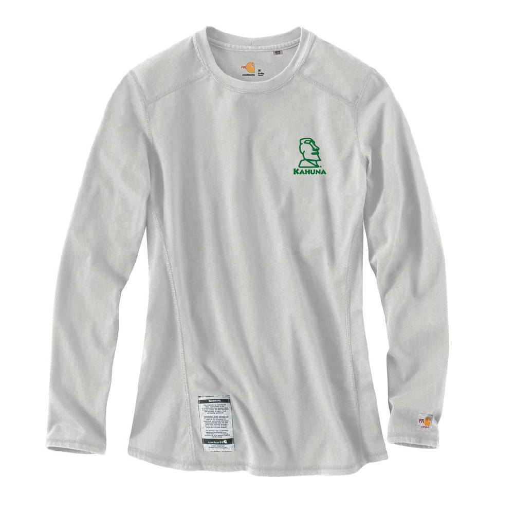 Carhartt Carhartt Women's FR Cotton Long-Sleeve Shirt (Light Grey w/green logo)