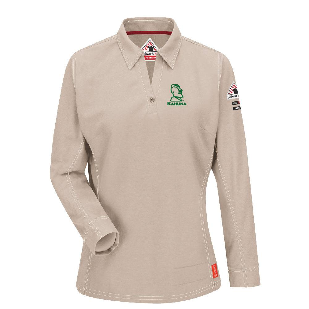 Bulwark Bulwark iQ Series® Women's Long Sleeve Polo ( Stone)