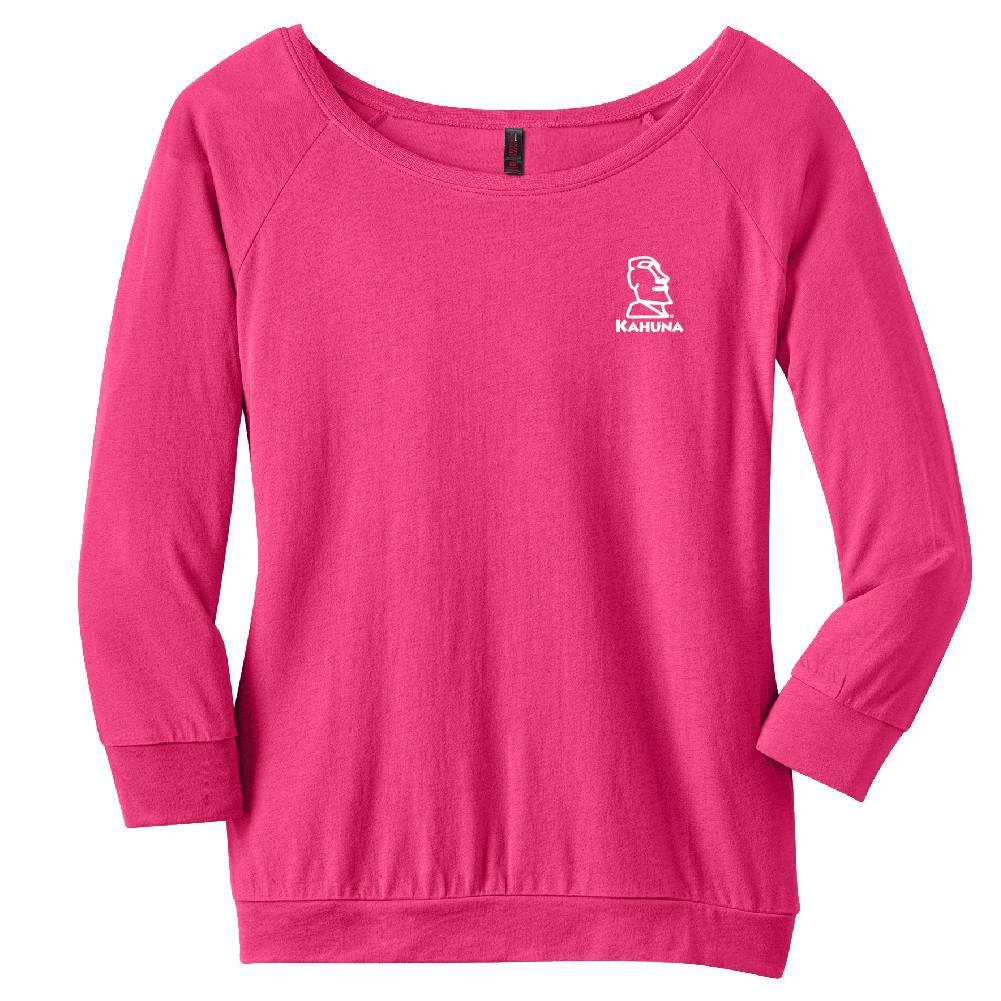 District Made District Made® - Ladies Modal Blend 3/4-Sleeve Raglan ( Dark Fuchsia)