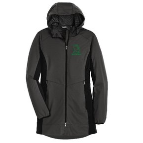 Port Authority® Ladies Active Hooded Soft Shell Jacket ( Steel Grey/Deep Black)