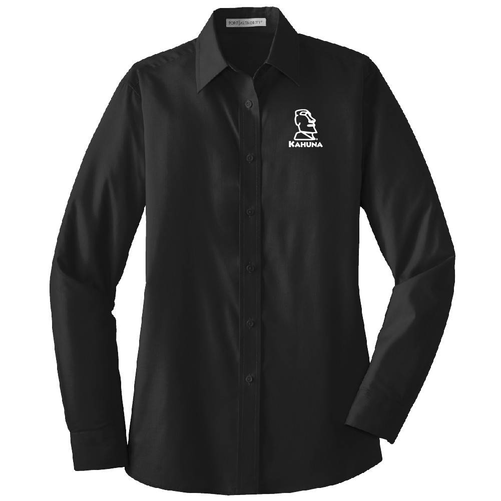 Port Authority Port Authority® Ladies Long Sleeve Value Poplin Shirt ( Black )