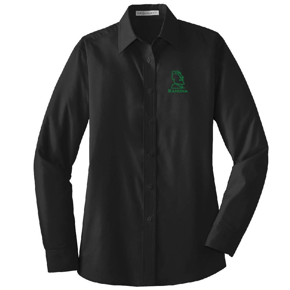 Port Authority Port Authority® Ladies Long Sleeve Value Poplin Shirt (Black w/green logo)