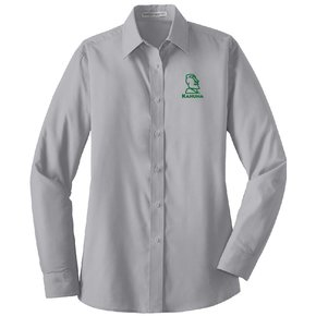 Port Authority® Ladies Long Sleeve Value Poplin Shirt ( Grey)