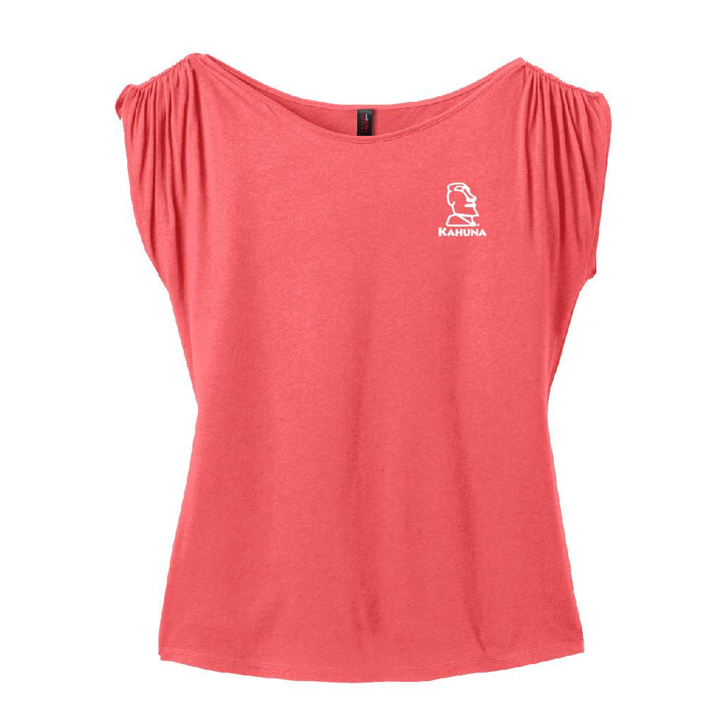 District Made District Made® Ladies Modal Blend Gathered Shoulder Tee ( Coral)