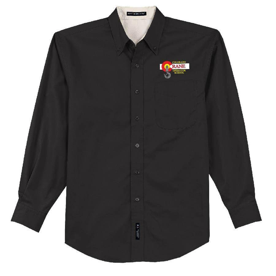 Port Authority Port Authority Long Sleeve Easy Care Shirt (Black/Lightstone)