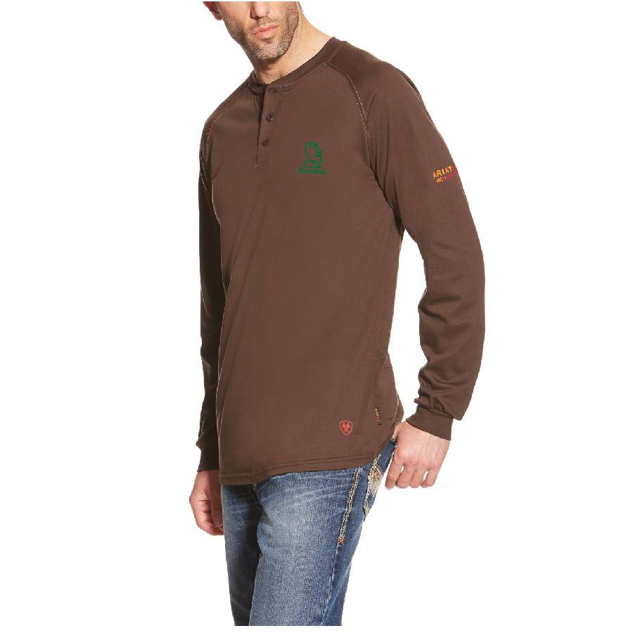 Ariat Ariat Fr Work Henley Ls (Coffee Bean)