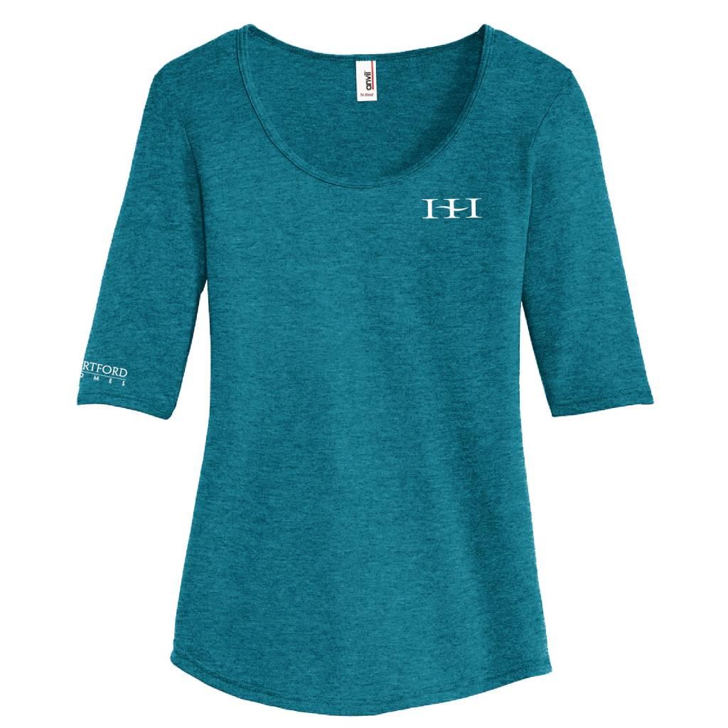 Anvil Anvil® Ladies Tri-Blend Deep Scoop Neck 1/2-Sleeve Tee (Heather Galapagos Blue)