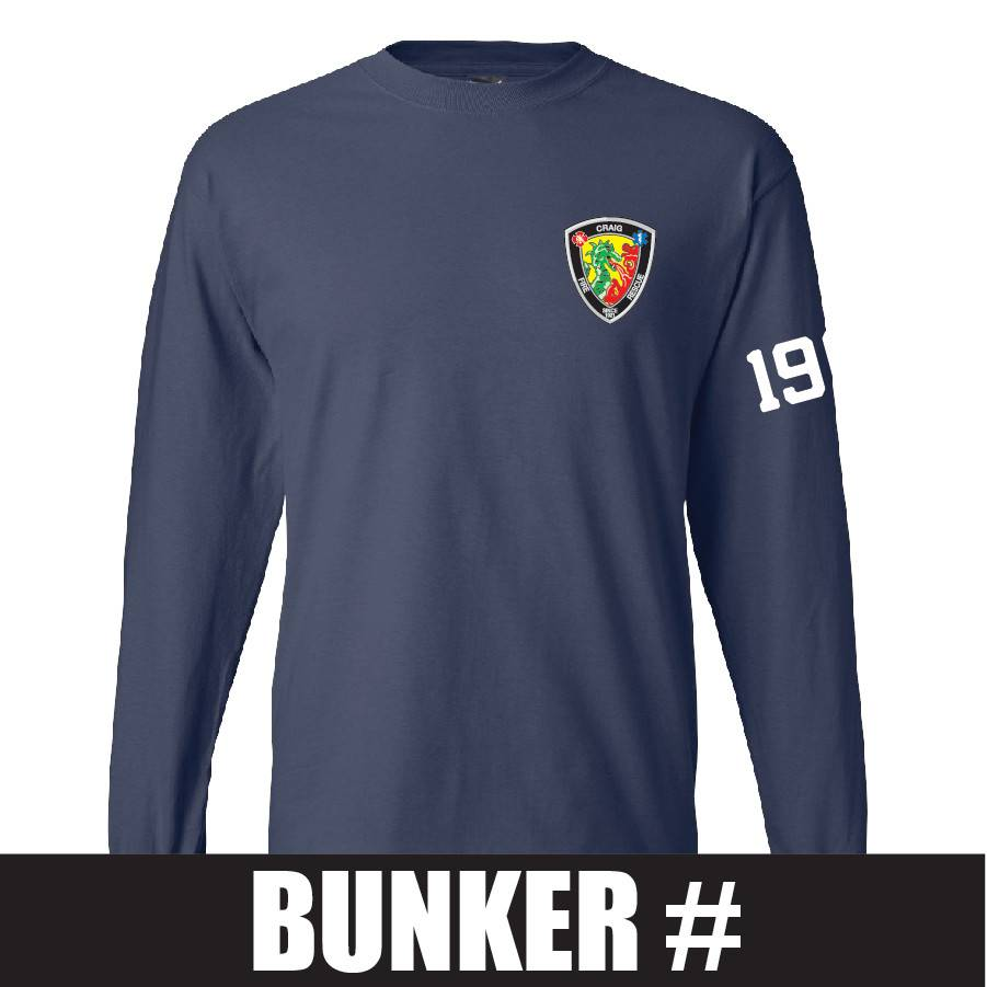 Hanes Hanes® Beefy-T® - 100% Cotton Long Sleeve T-Shirt (Navy) Bunker Number