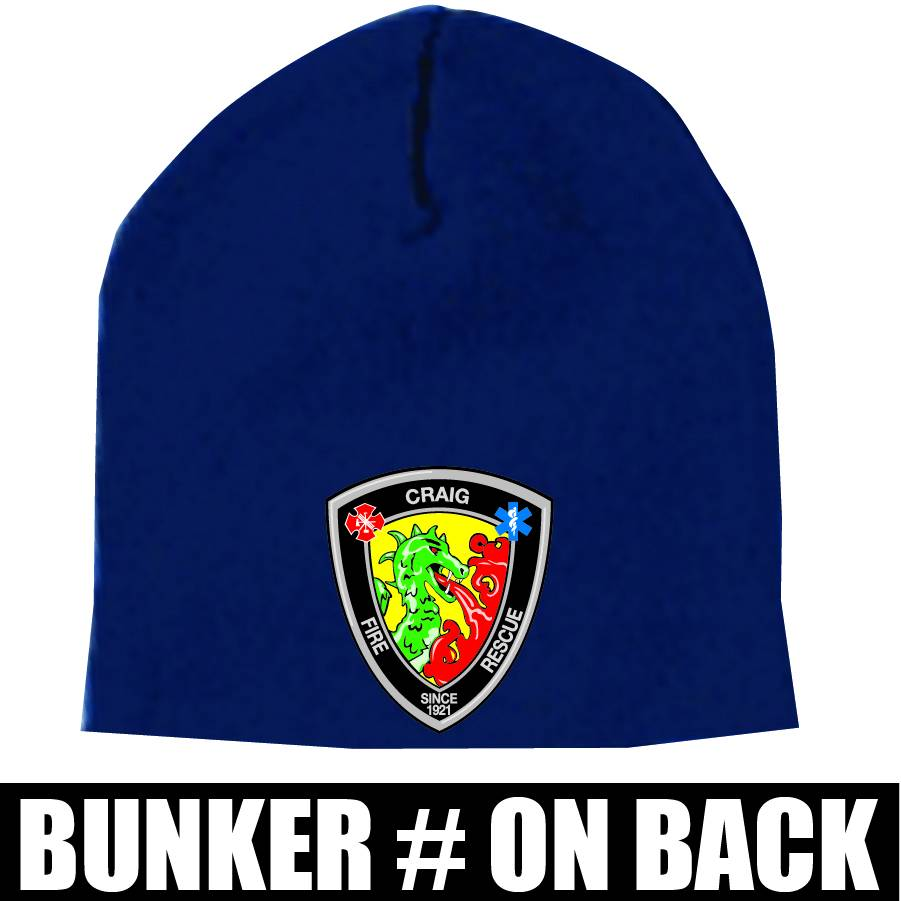 Yupoong Knit Beanie Cap  (Navy) Bunker Number