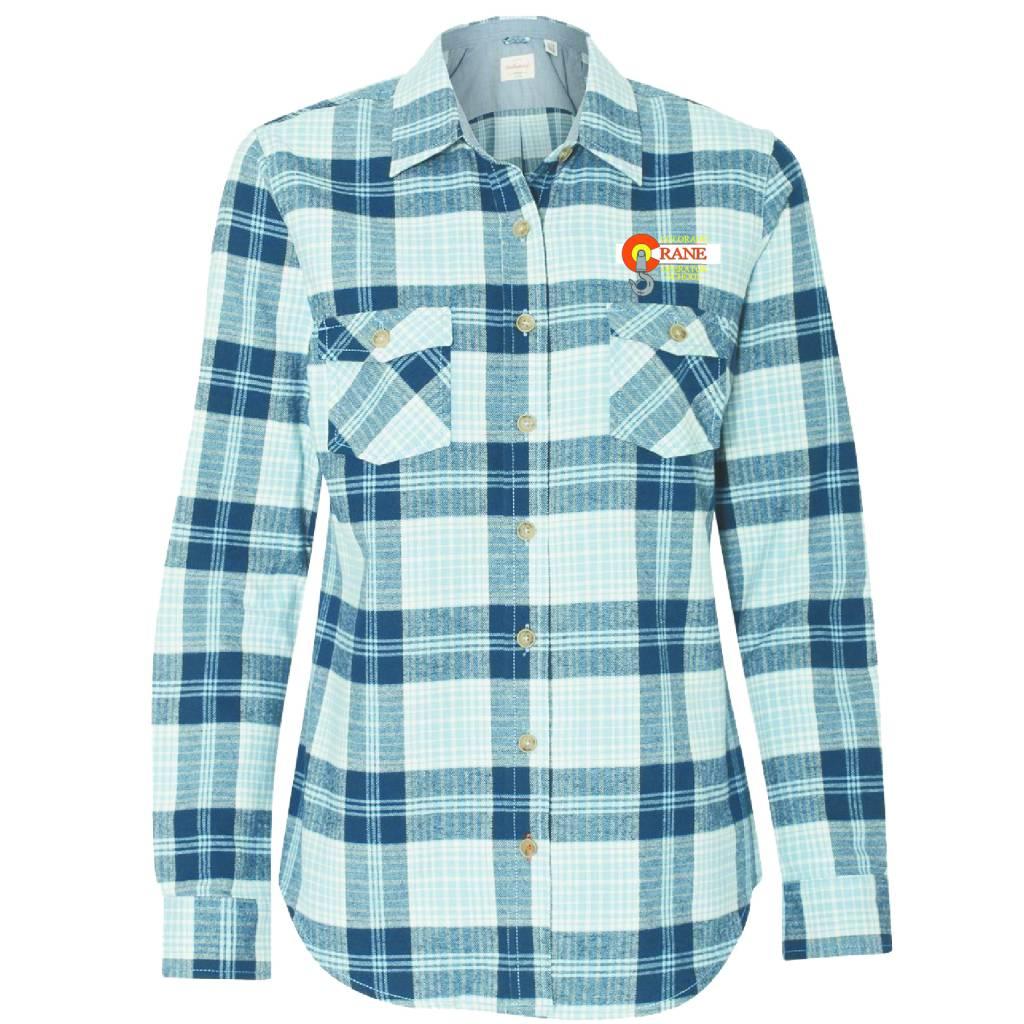 Weatherproof Weatherproof - Vintage Women's Brushed Flannel Long Sleeve Shirt ( Powder Blue Plaid )