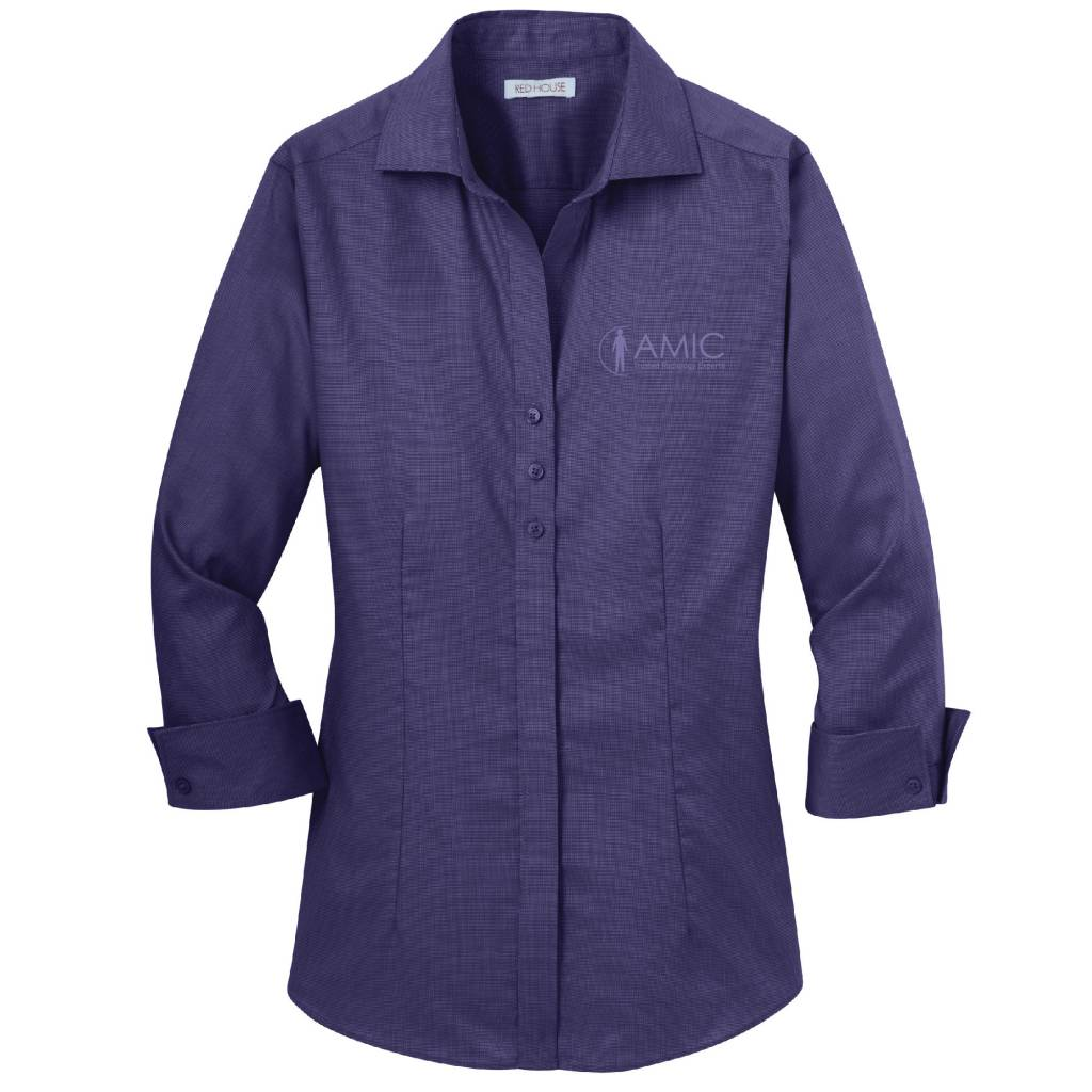Red House Red House Ladies 3/4 Sleeve Non-Iron Shirt (Dark Purple)