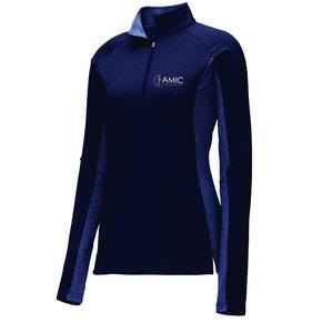 Sport Tek Sport-Tek Ladies Stretch 1/2 Zip Pullover ( True Navy/ True Nave Heather )