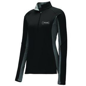 Sport Tek Sport-Tek Ladies Stretch 1/2 Zip Pullover ( Black/Charcoal Heather )