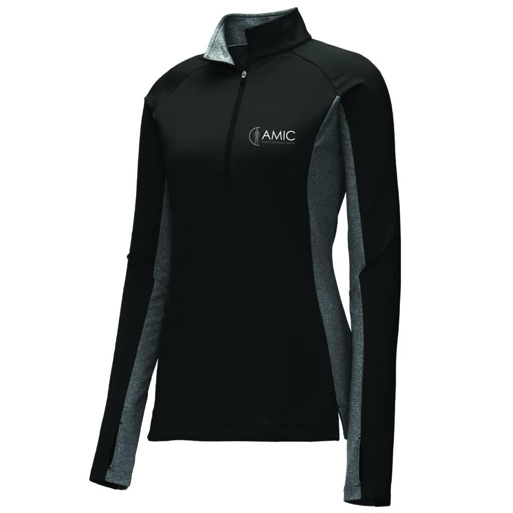Sport Tek Sport-Tek Ladies Stretch 1/2 Zip Pullover ( Black/Charcoal Heather )