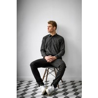 Over-Dyed Stripe Pleat Shirt