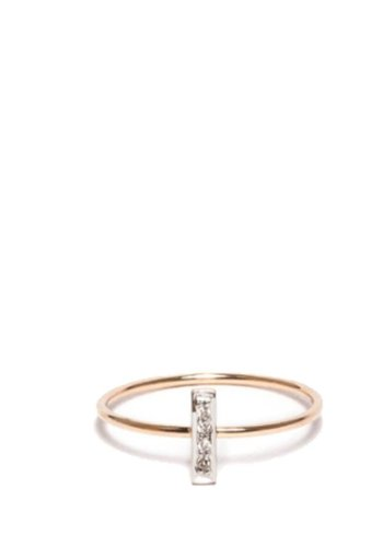 I and I White Diamond Rectangle Ring
