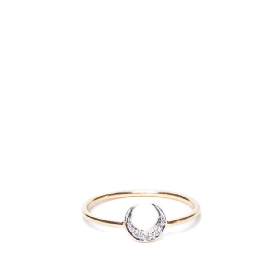 White Diamond Crescent Moon Ring