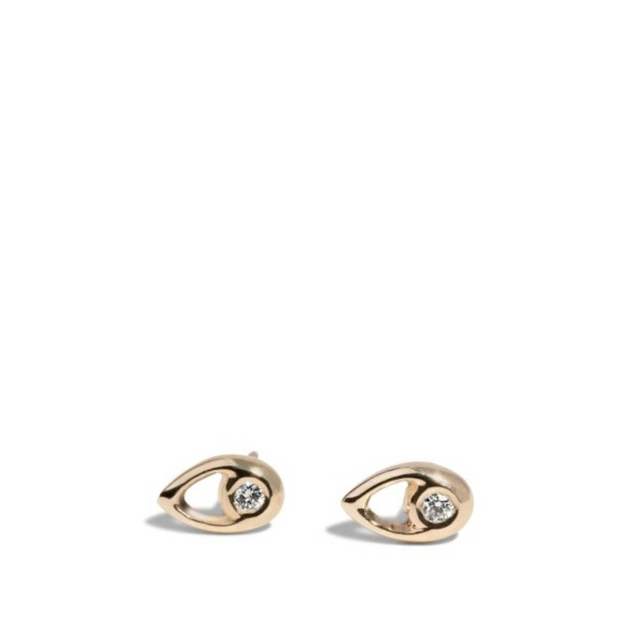 Aira Stud Gold with Diamonds Earrings