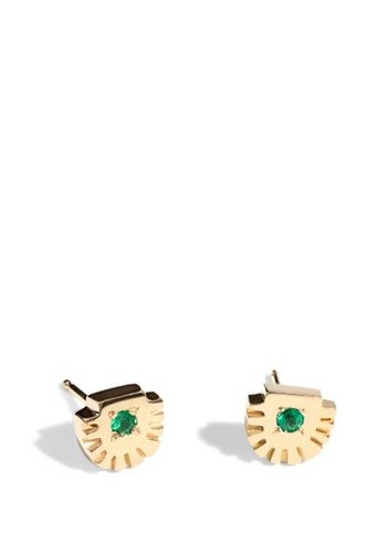 Bario Neal Ray Stud Gold with Emeralds Earrings