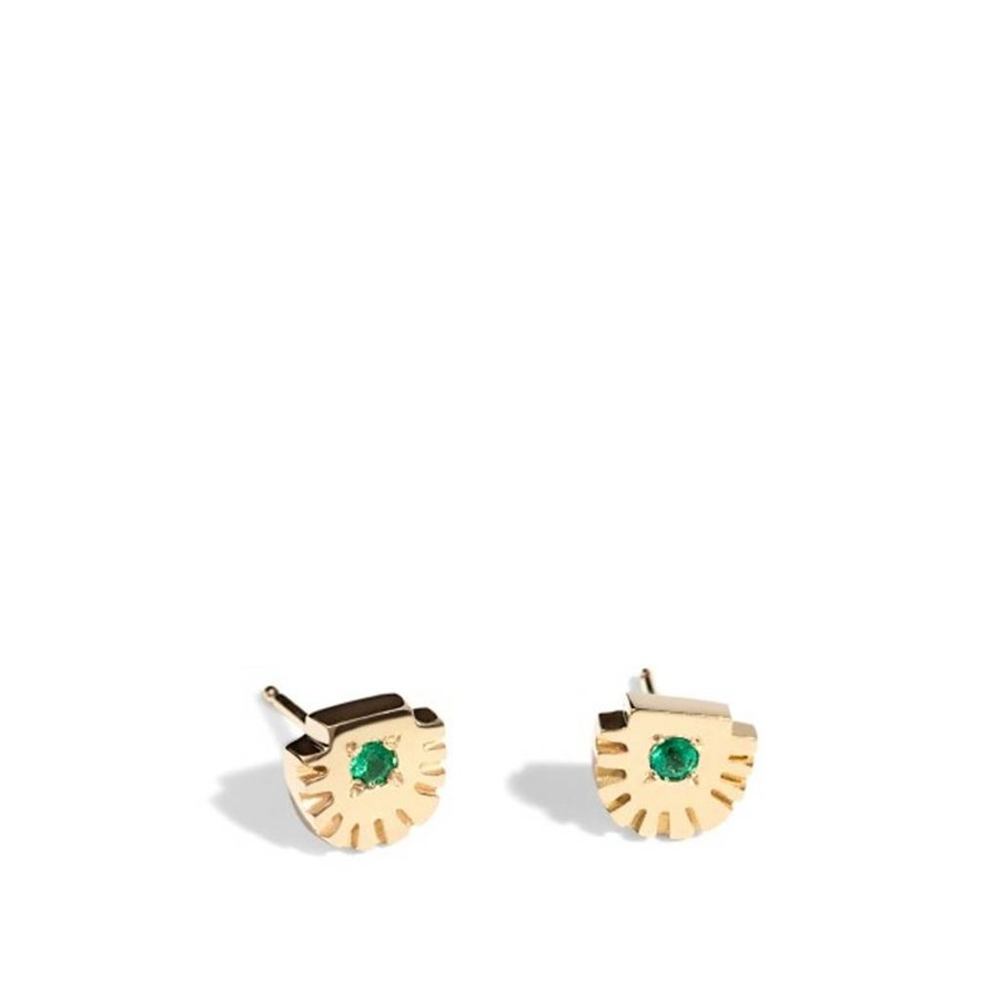 Ray Stud Gold with Emeralds Earrings