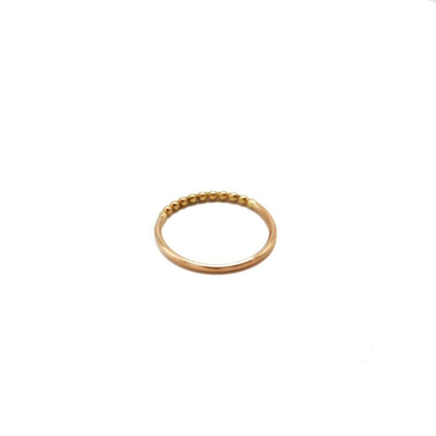 14k Yellow and Rose Gold Beaded Ring