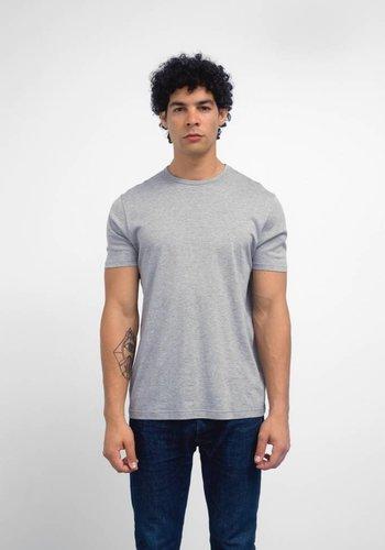 Sunspel Grey Melange Jersey Knit Short Sleeve Crew Neck