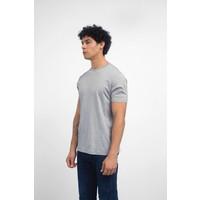 Grey Melange Jersey Knit Short Sleeve Crew Neck