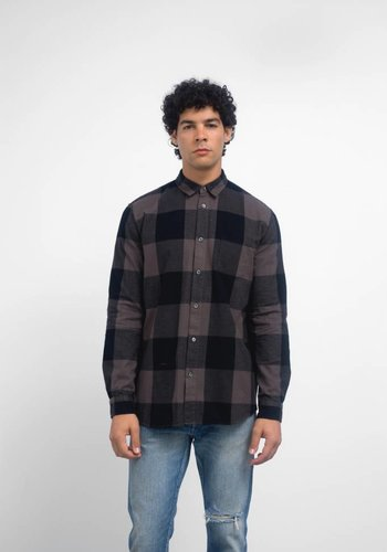 Robert Geller Long Sleeve Dyed Plaid Shirt