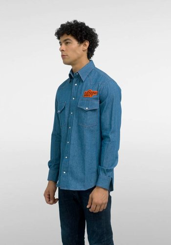 Gitman Vintage Squaw Valley Patch Denim Western Shirt