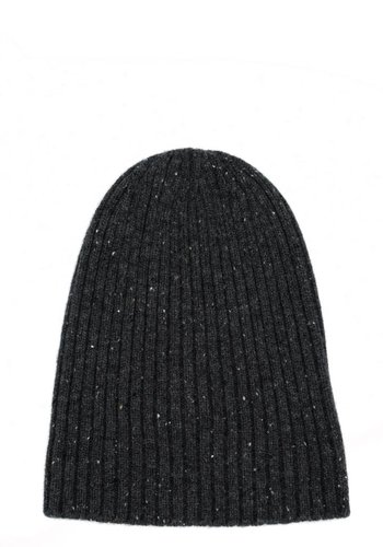 Charcoal Flecked Cashmere Stocking Cap